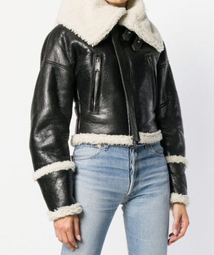 Women Black Long Collar Shearling Jacket