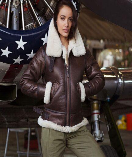 Women Brown B3 Shearling Jacket
