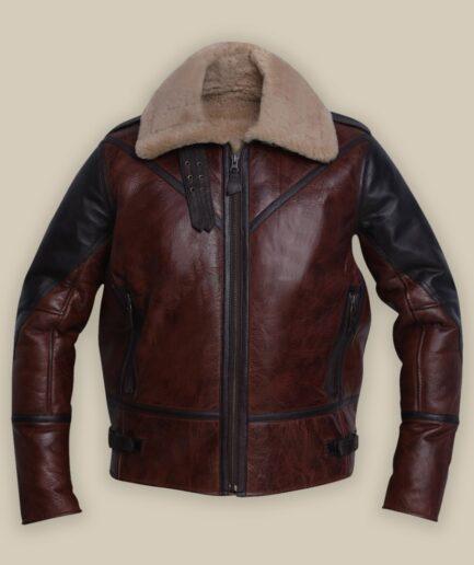 Men Umber Brown Shearling Jacket