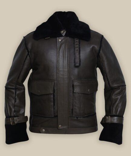 Men Black Bomber Shearling Jacket