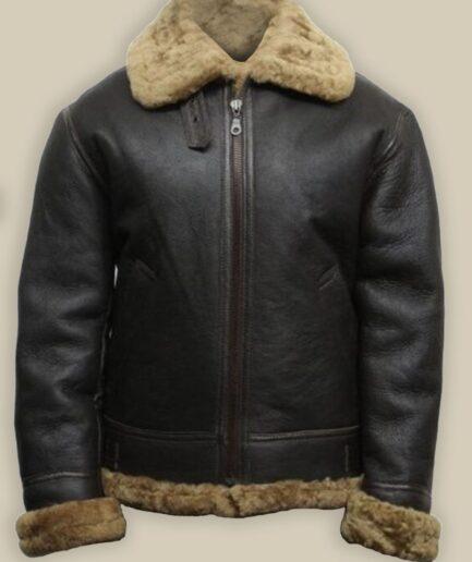Men Black B3 Bomber Shearling Leather Jacket