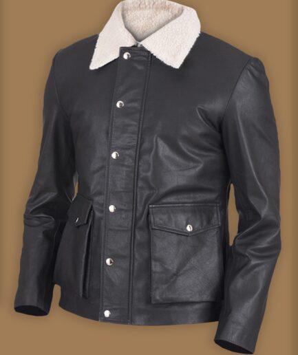 Men Black Button Shearling Leather Jacket