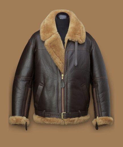 Men Raf Brown Shearling Jacket
