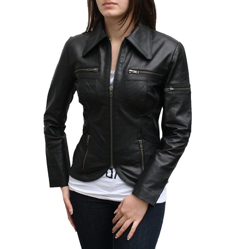 Women Motorcycle Sport Leather Jacket