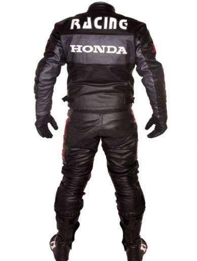 HONDA Black Motorbike Leather Suit