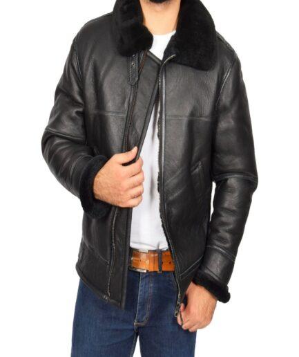 Men Black Shearling Flying Leather Jacket