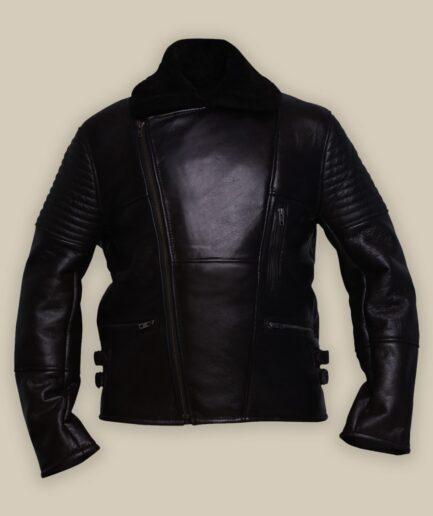 Men Black Rider Shearling Leather Jacket