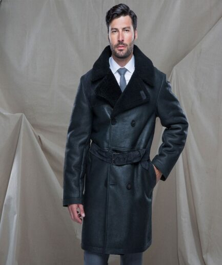 Men Black Shearling Leather Trench
