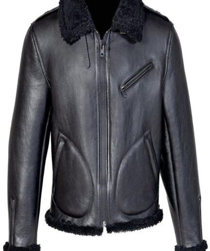 Men Shearling Black Biker Jacket