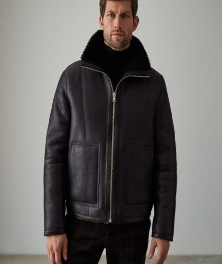 Men Black Aviator Leather Jacket