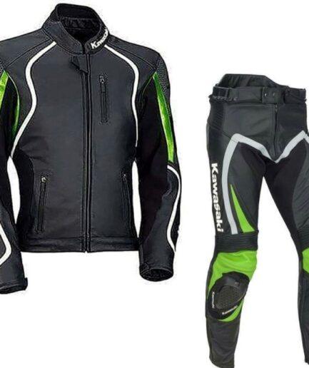 Kawasaki Motorbike Sport Leather Suit Bsm 2669