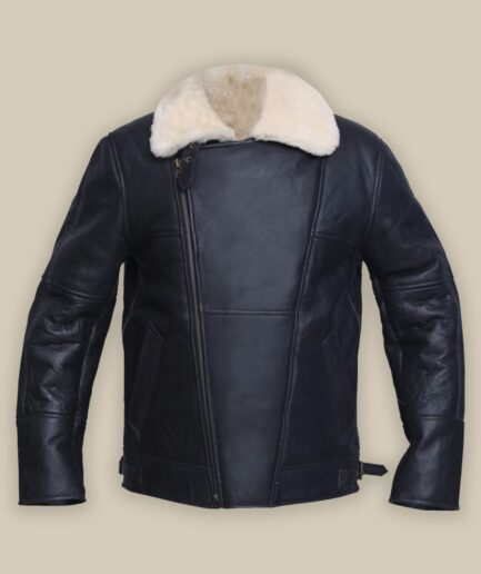 Men White Shearling Leather Jacket
