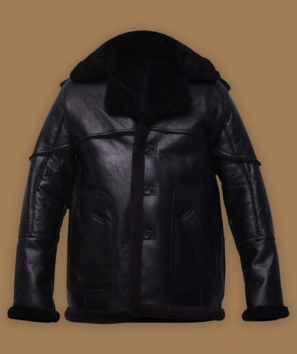 Men Pure Black Sheepskin Leather Jacket