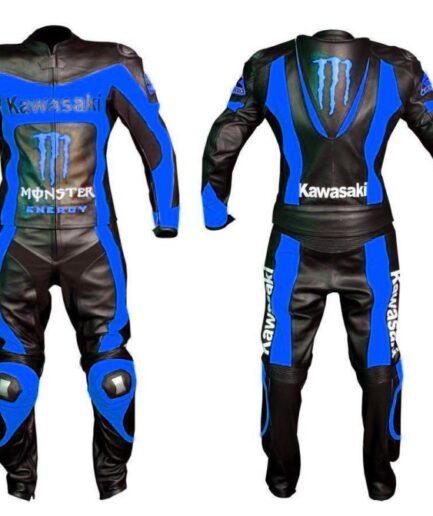 Kawasaki Motorbike Men Leather Suit