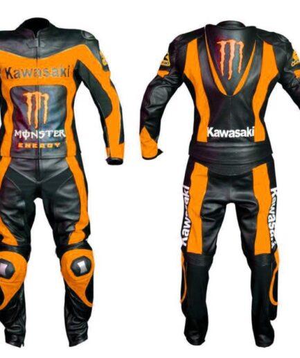 Kawasaki Motorbike Sport Leather Suit Bsm 2672