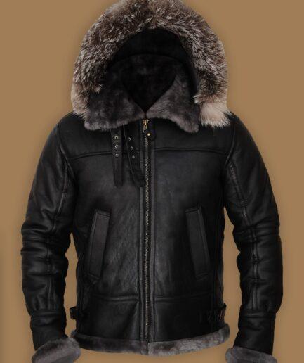 Men Black Shearling Jacket With Hoodie