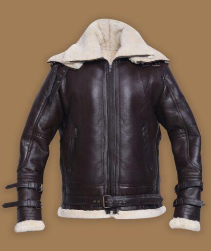 Men Jet Black Shearling Jacket