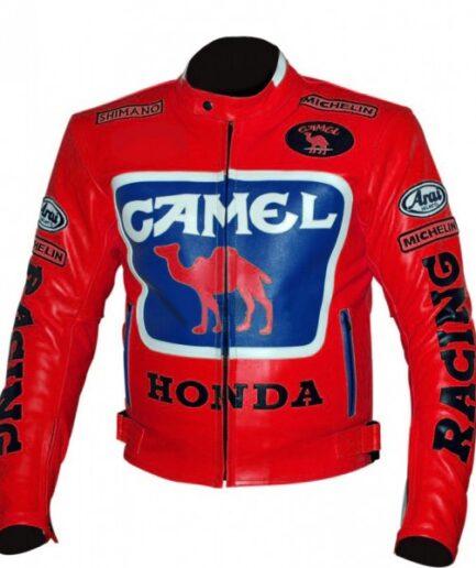 HONDA Camel Motorbike Racing Leather Jacket