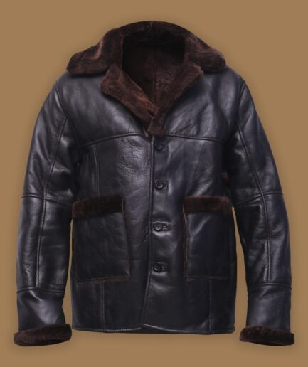 Men Black Button Shearling Jacket