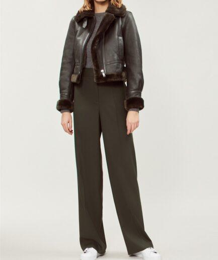 Women Black Shearling Bomber Leather Jacket