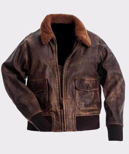 Navy Flight Men Distressed Genuine Brown Leather Jacket