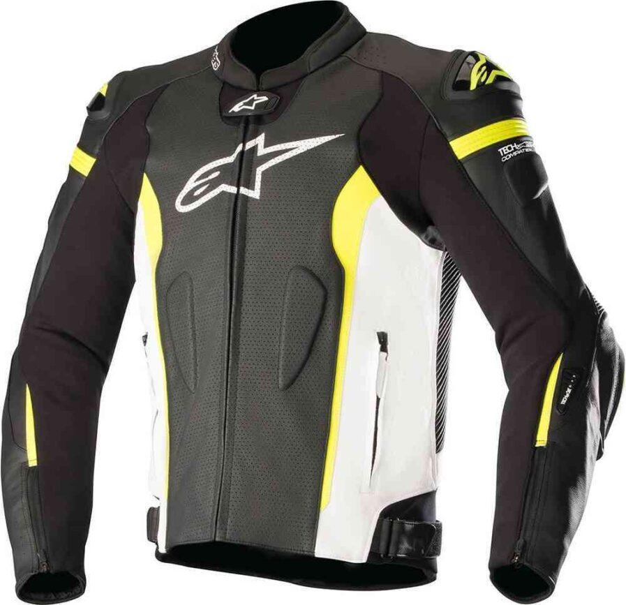Alpinestars Missile Tech Air Leather Jacket Black White Fluro Yellow