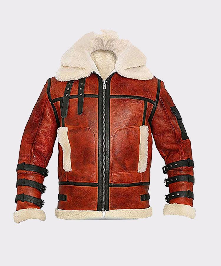 Aviator Sheepskin Men's B6 Waxed Bomber Shearling Leather Jacket
