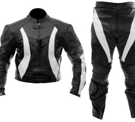 Black/White Motorbike Leather Suit