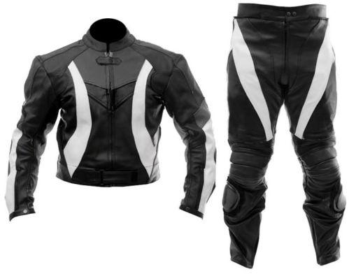 Black/White Motorbike Leather Suit