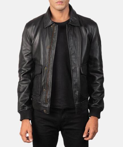 Coffmen Black Leather Bomber Jacket