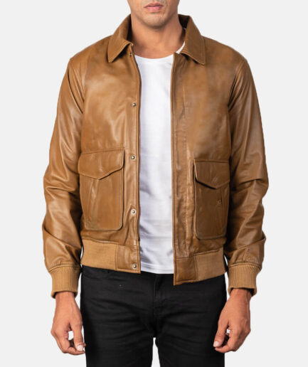 Coffman Olive Brown Leather Bomber Jacket