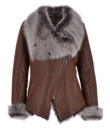 Corrine Luxury Toscana Sheepskin Jacket Tabak