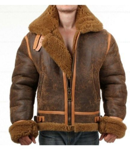 Distressed Faux Shearling Bomber Genuine Real Leather Jacket