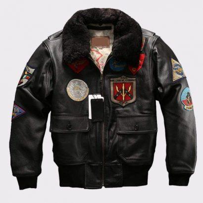 Fur Collar Genuine Bomber Shearling Leather Jacket