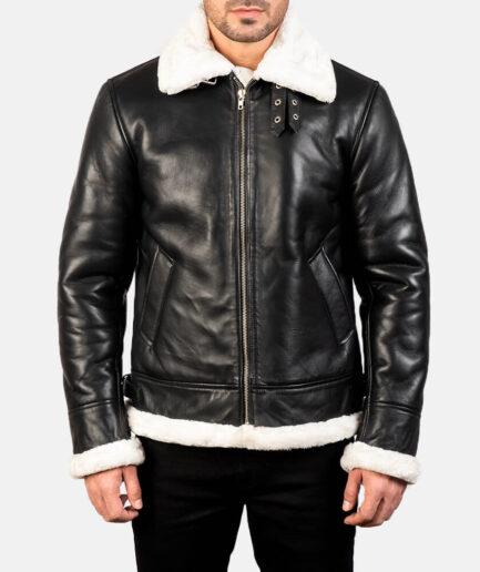 Francis B-3 Black & White Leather Bomber Jacket