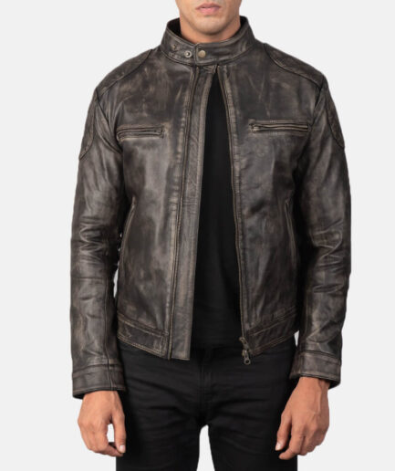 Buy Gatsby Distressed Brown Leather Jacket For Men Made of Goatskin Leather. Free Shipping in USA, UK, Canada, Australia & Worldwide With Custom Made to Measure Option.