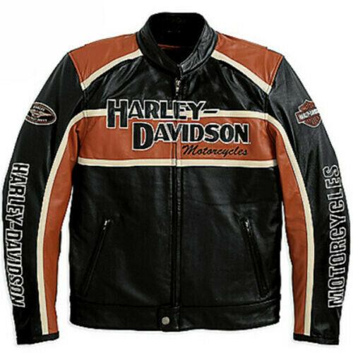 Genuine Men's Harley Davidson Classic Black & Orange Biker Leather Jacket