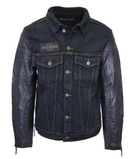 Harley-Davidson Men's Denim & Leather Sleeve Button Up Jacket