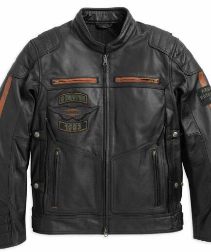Harley Davidson Men's Exmoor Reflective Wing Motorcycle Leather Jacket
