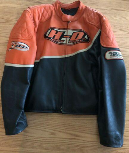 Harley Davidson Men's Speed Orange & Black Leather Racing Jacket