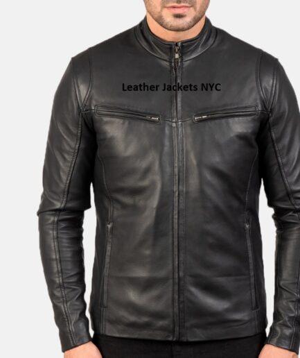 Men Ionic Black Leather Jacket
