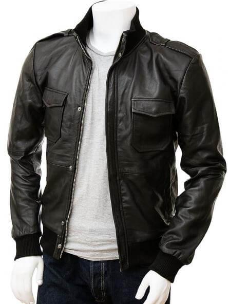 Men's Black Leather Bomber Jacket