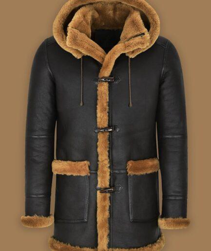 Men Black Shearling Coat With Hoodie