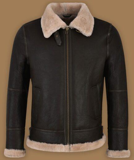 Men Black Sheepskin Jacket