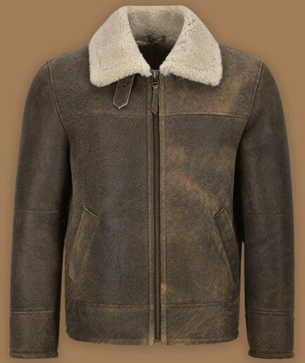 Men Old Fashion Brown Shearling Jacket