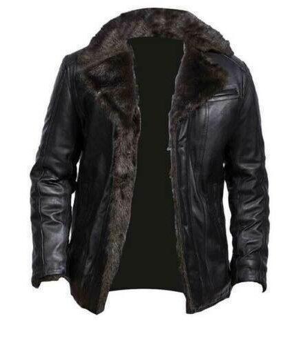 Men's Aviator B3 Black Bomber Fur Shearling Genuine Sheepskin Leather Jacket