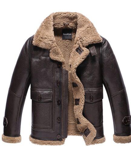 Shearling B3 Fur Lambskin Motorcycle Fur Coat Flight Jacket