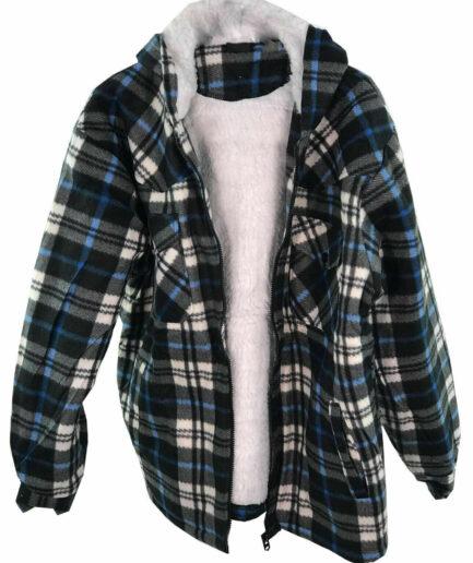 Men's Lumberjack Sherpa Fur Fleece Lined Hoodie Jacket Hooded Work Shirt