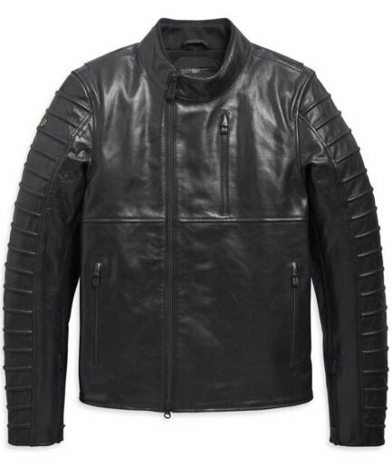 Men's Harley-Davidson Ozello Perforated Slim Fit Leather Jacket - Black