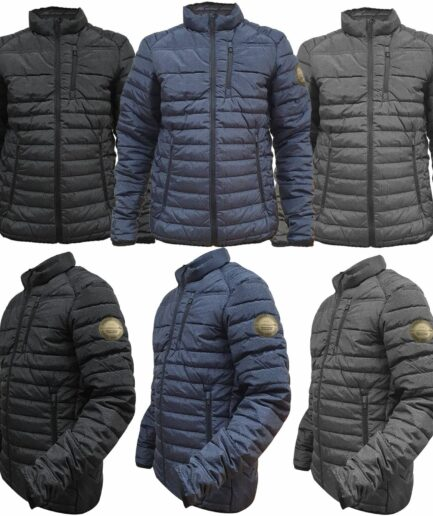 Men's Padded Jacket Coat Puffer Bubble Quilted Fleece Lined Warm Work Wear Winter